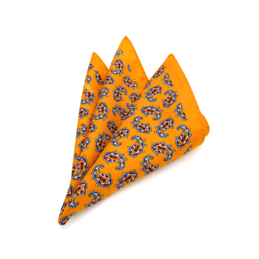 POCKET SQUARE | YELLOW PAISLEY | SATIN