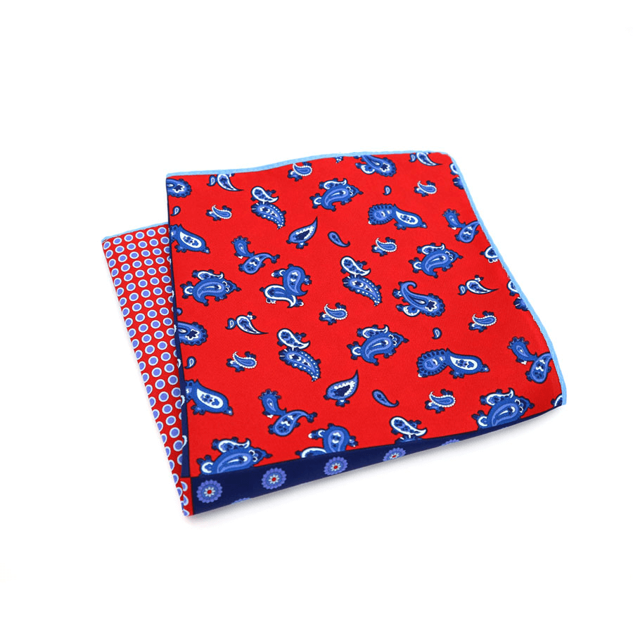 POCKET SQUARE |  RED BLUE PAISLEY DOTS | SATIN