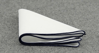 POCKET SQUARE | WHITE | NAVY BLUE BORDER | COTTON