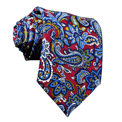 LUXURY TIE | BLUE YELLOW PRINT PAISLEY | SILK