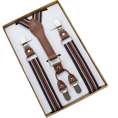 SUSPENDERS | COFFEE RED STRIPED
