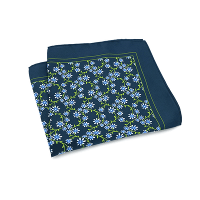 POCKET SQUARE | BLUE FLORAL | SATIN