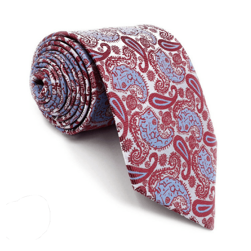 TIE | WHITE RED PAISLEY | SILK