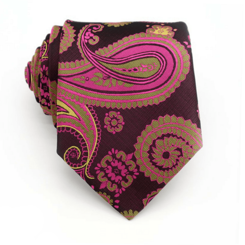 TIE | PINK YELLOW PAISLEY | SILK