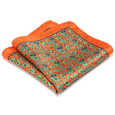 LUXURY POCKET SQUARE | ORANGE GREEN PAISLEY | NATURAL SILK