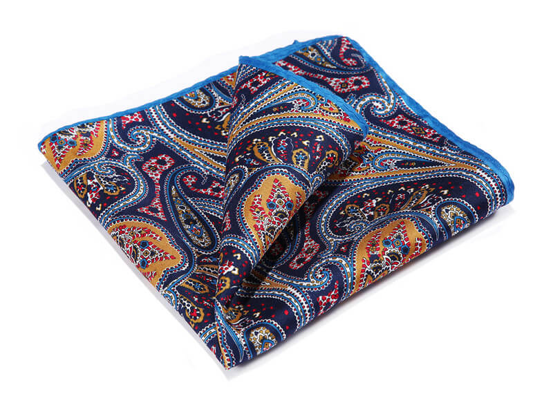 LUXURY POCKET SQUARE | BLUE ORANGE PAISLEY | NATURAL SILK