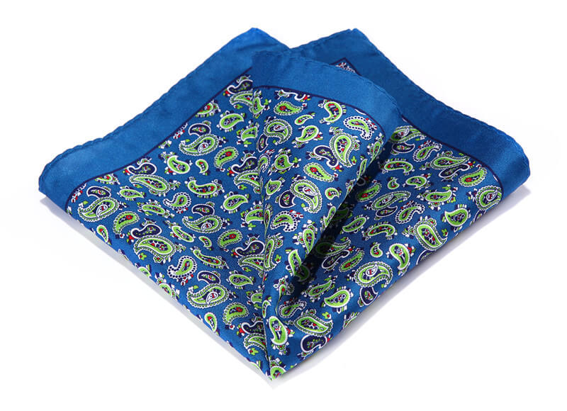 LUXURY POCKET SQUARE | BLUE LIGHT GREEN PAISLEY | NATURAL SILK