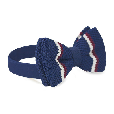 BOW TIE | NAVY BLUE RED STRIPES KNITED | WOOL