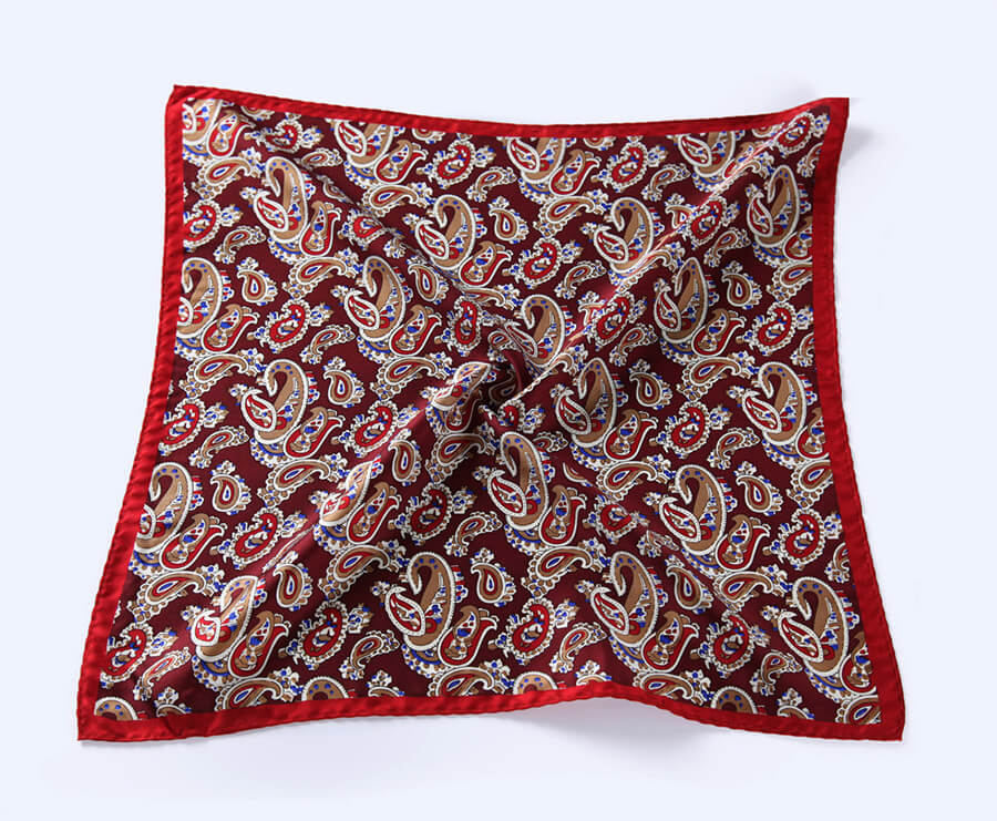 LUXURY POCKET SQUARE | RED BLUE PAISLEY | NATURAL SILK