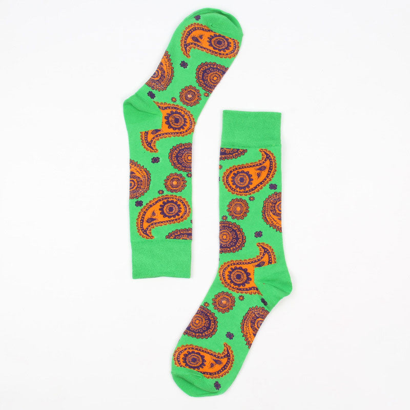 SOCKS | GREEN PAISLEY | COTTON