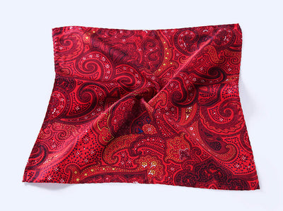 LUXURY POCKET SQUARE | RED PAISLEY | NATURAL SILK