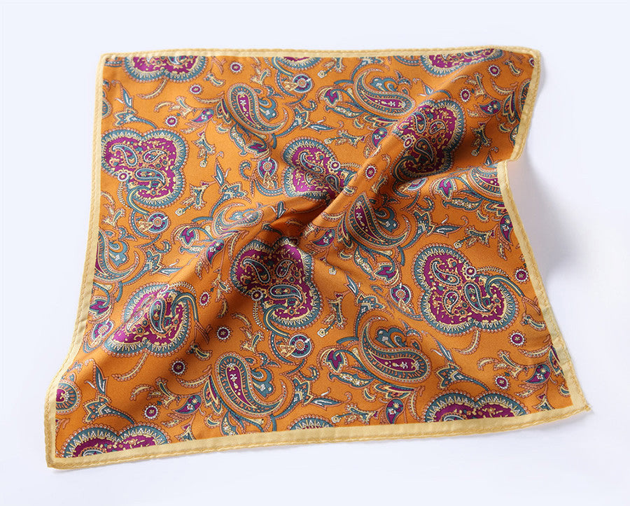 LUXURY POCKET SQUARE | YELLOW PURPLE PAISLEY | NATURAL SILK
