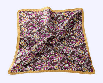 LUXURY POCKET SQUARE | PURPLE LIGHT BROWN PAISLEY | NATURAL SILK