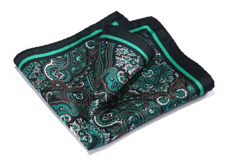 LUXURY POCKET SQUARE | GREEN PAISLEY | NATURAL SILK
