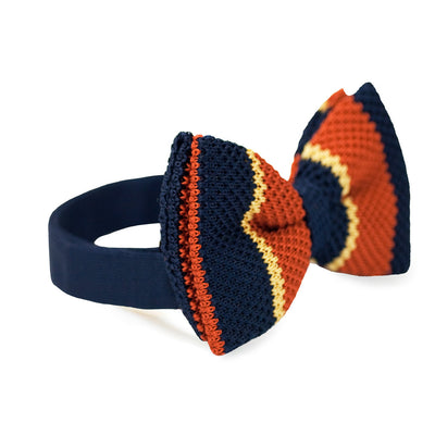 BOW TIE | NAVY BLUE STRIPES KNITED | WOOL