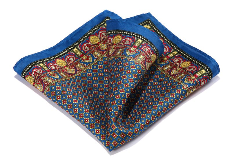 LUXURY POCKET SQUARE | BLUE GEOMETRIC | NATURAL SILK
