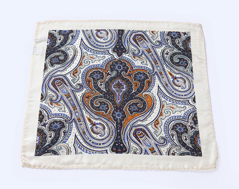 LUXURY POCKET SQUARE | WHITE BLUE PAISLEY | NATURAL SILK