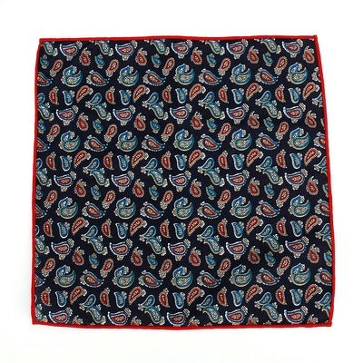 POCKET SQUARE | BLACK PAISLEY | COTTON
