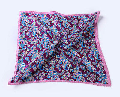LUXURY POCKET SQUARE | PURPLE PINK PAISLEY | NATURAL SILK