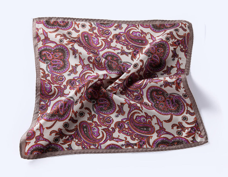 LUXURY POCKET SQUARE | RED WHITE PURPLE PAISLEY | NATURAL SILK