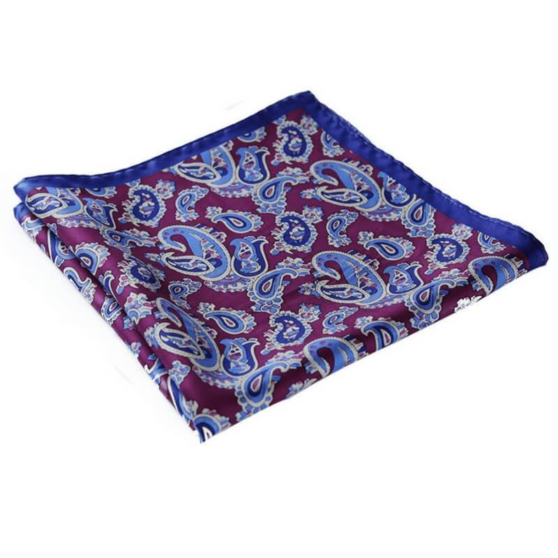 LUXURY POCKET SQUARE | BLUE PURPLE PAISLEY | NATURAL SILK
