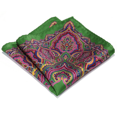 LUXURY POCKET SQUARE | GREEN LIGHT PURPLE PAISLEY | NATURAL SILK