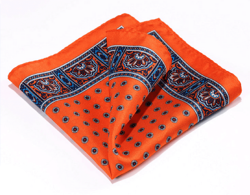 LUXURY POCKET SQUARE | ORANGE NAVY BLUE PAISLEY | NATURAL SILK