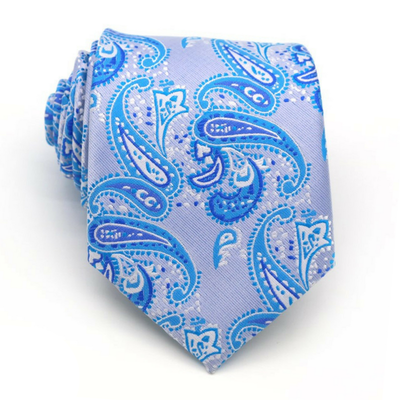 TIE | LIGHT BLUE WHITE PAISLEY | SILK