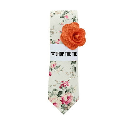 SLIM TIE |  PINK GREEN FLORAL | COTTON