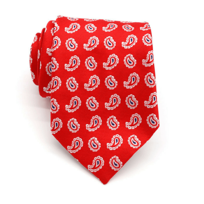 TIE | RED WHITE PAISLEY | SILK