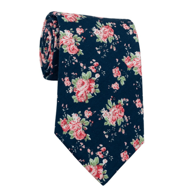 TIE | BLUE RED GREEN FLORAL | COTTON