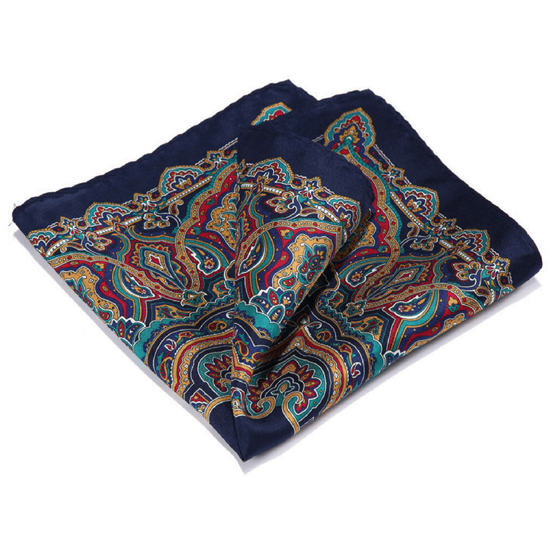 LUXURY POCKET SQUARE | NAVY BLUE RED | NATURAL SILK
