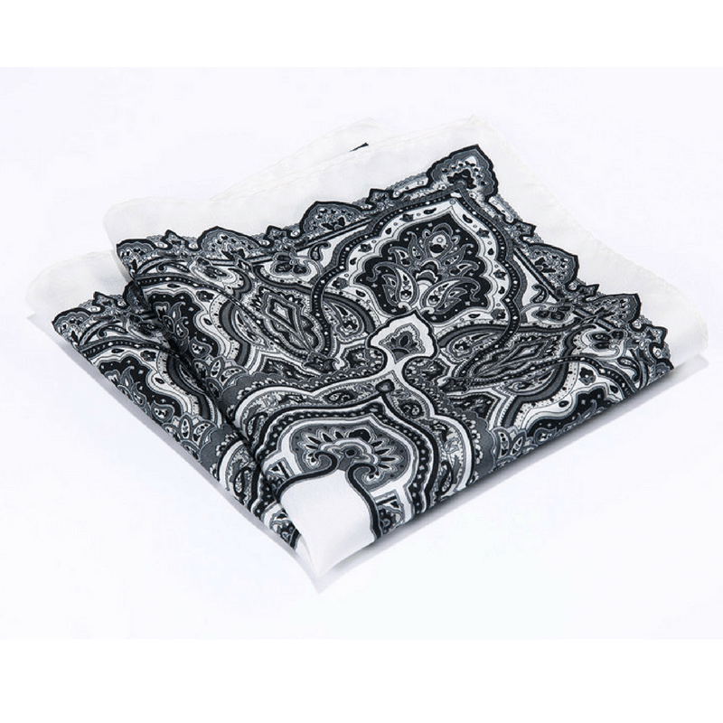 LUXURY POCKET SQUARE | WHITE BLACK PAISLEY | NATURAL SILK