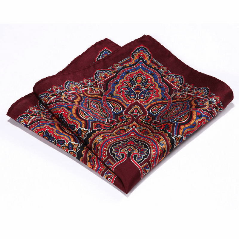 LUXURY POCKET SQUARE | DARK RED PAISLEY | NATURAL SILK