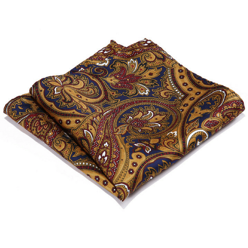 LUXURY POCKET SQUARE | GOLD FLORAL | NATURAL SILK