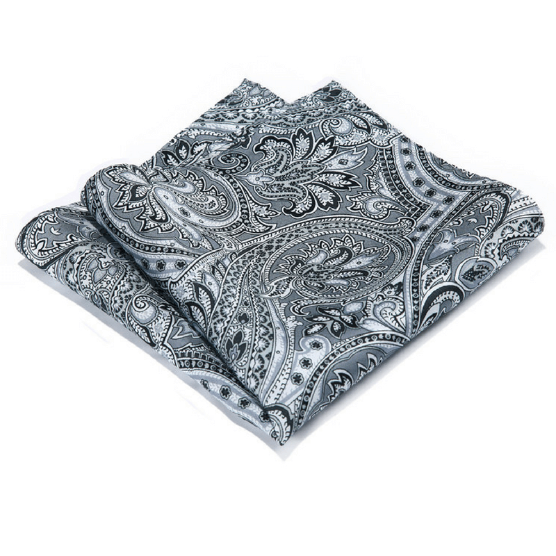 LUXURY POCKET SQUARE | WHITE BLACK FLORAL | NATURAL SILK