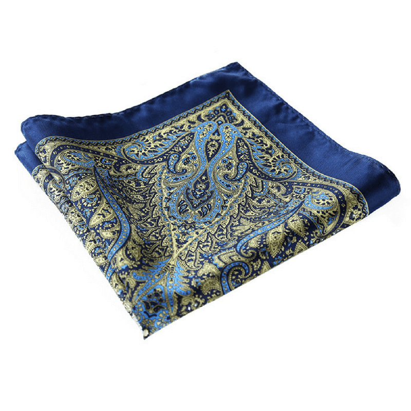 LUXURY POCKET SQUARE | BLUE GREEN PAISLEY | NATURAL SILK