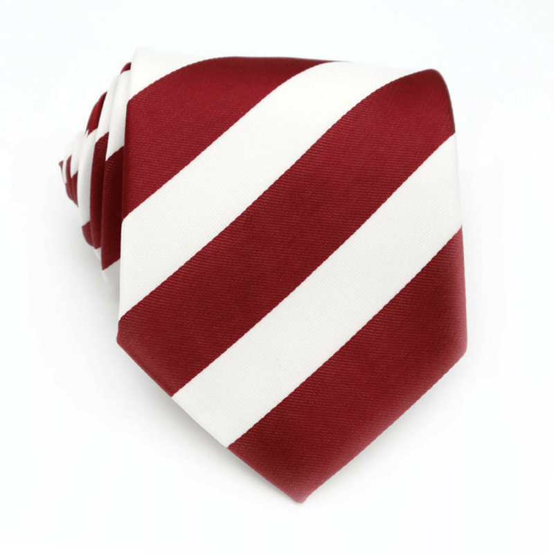 TIE | WHITE RED STRIPES | SATIN