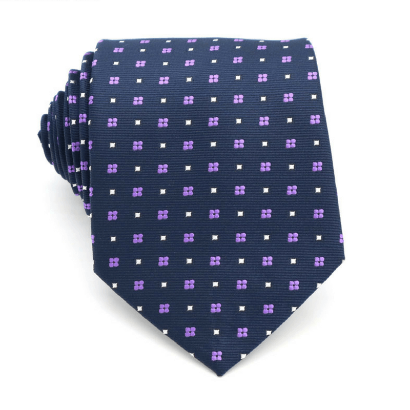 TIE | NAVY BLUE WHITE SQUARE DOTS | SILK