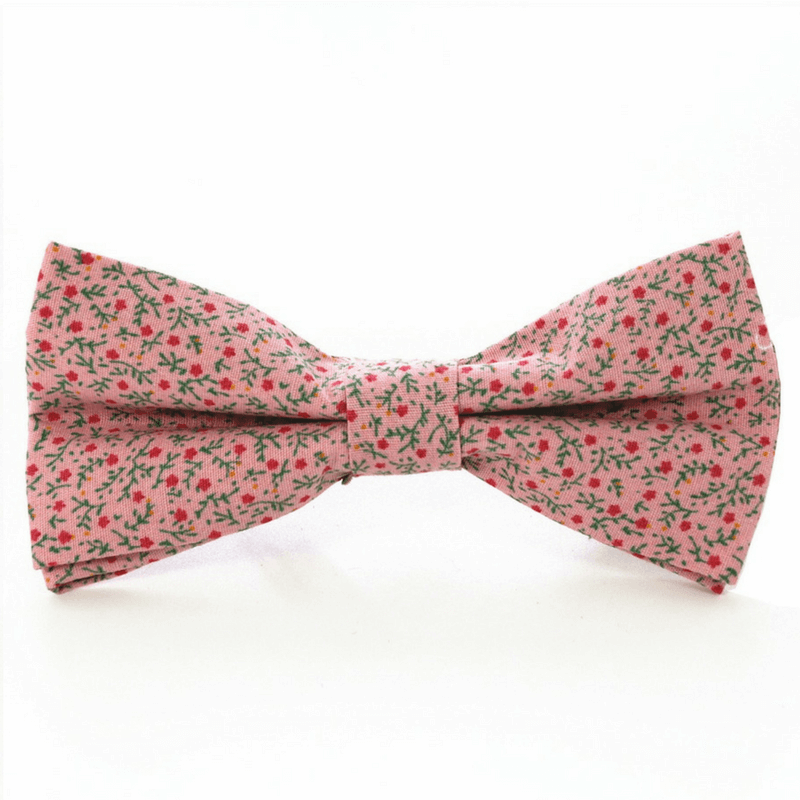 BOW TIE | PINK GREEN FLORAL | COTTON