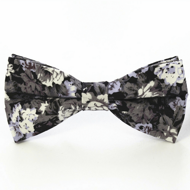 BOW TIE | BLACK GREY WHITE FLORAL | COTTON