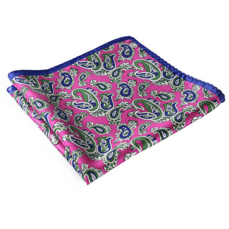 LUXURY POCKET SQUARE | GREEN PINK PAISLEY | NATURAL SILK