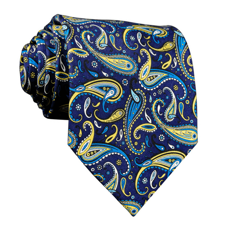 LUXURY TIE | BLUE GREEN PRINT PAISLEY | SILK