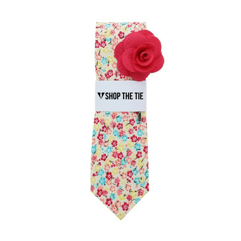 SLIM TIE | YELLOW LIGHT BLUE FLORAL | COTTON