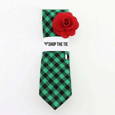 SLIM TIE | GREEN BLACK PLAID | COTTON