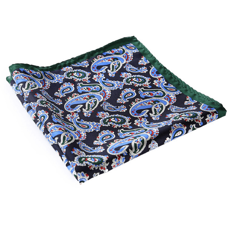LUXURY POCKET SQUARE | GREEN DARK BLUE PAISLEY | NATURAL SILK