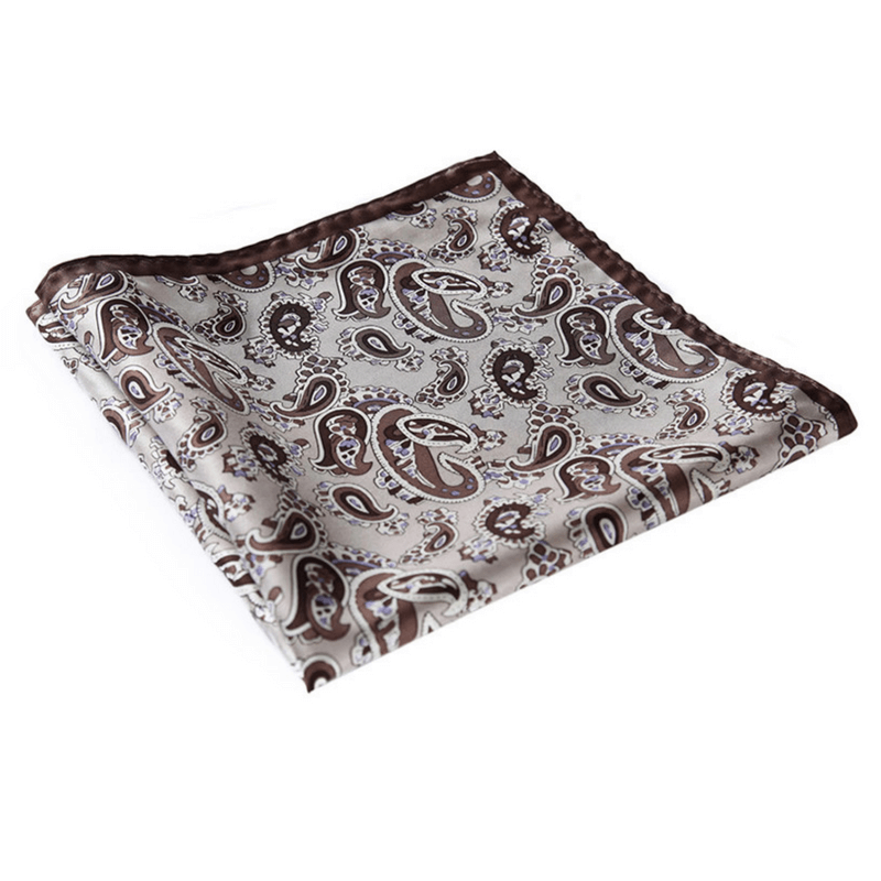 LUXURY POCKET SQUARE | BROWN GREY PAISLEY | NATURAL SILK