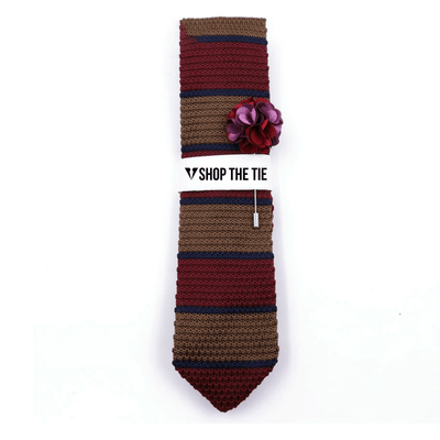 SLIM TIE | LIGHT BROWN BLUE KNITTED | COTTON