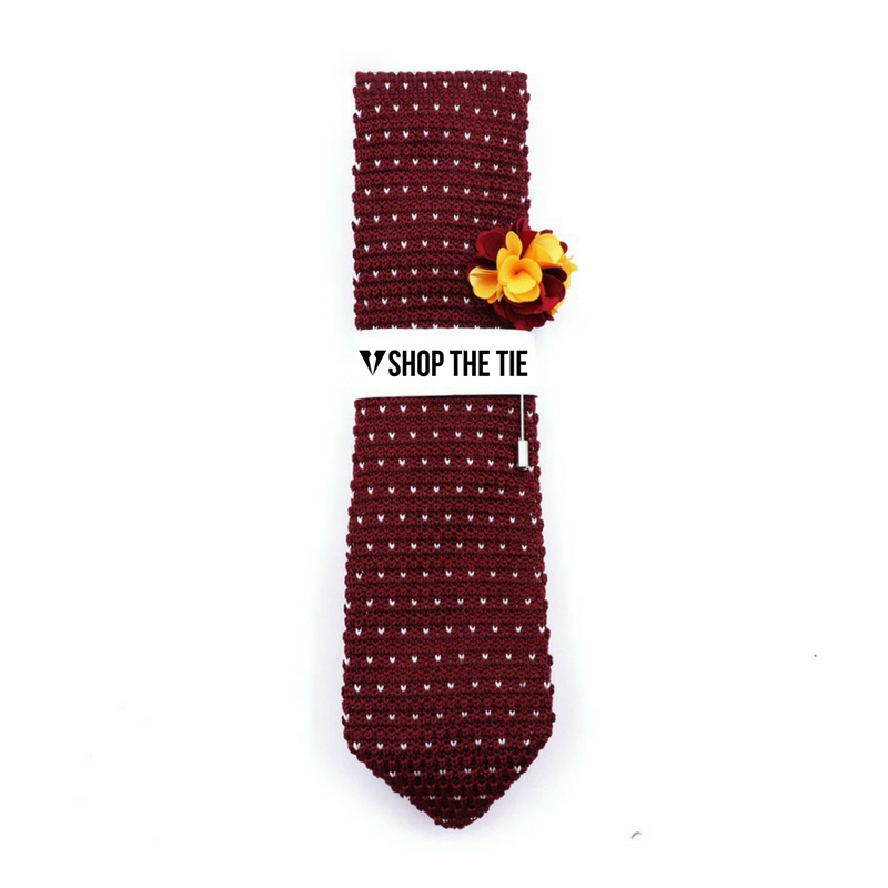 SLIM TIE | RED KNITTED DOTS | COTTON