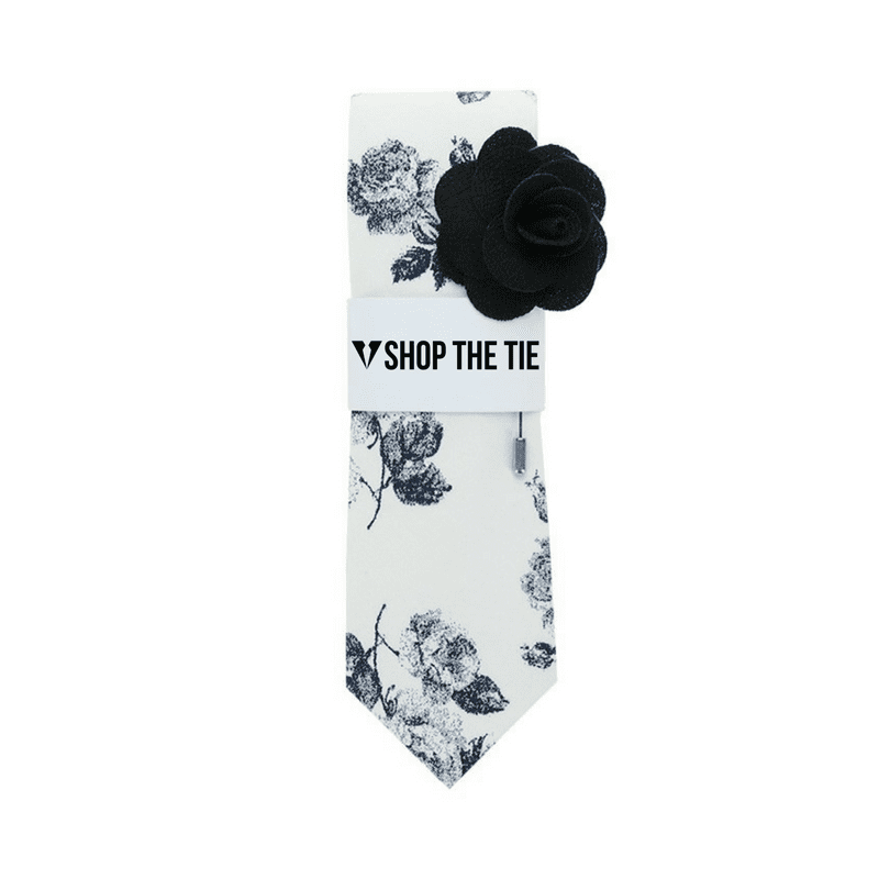 SLIM TIE | WHITE BLACK FLORAL | COTTON